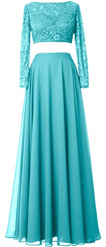 MACloth Women 2 Piece Long Sleeve Prom Dress Lace Chiffon Formal Evening Gown Turquoise