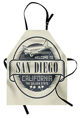 (San Diego-Schürze, Retro-Stempel mit Flugzeug und Text Willkommen in Kalifornien Der goldene Staat, Unisex-Küchenschürze mit verstellbarem Hals zum Kochen, Backen, Gartenarbeit, Eierschale und Grau)
