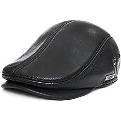LETHMIK Sombrero de Hombre Con Visera Tapa plana de cuero Texanos Vaqueros Ivy Gorros Tardan Caza conduciendo Boina Hat Black-XXL
