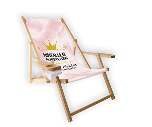 MultiBrands Holz-Liegestuhl, mit Armlehne und Getränkehalter, klappbar, Motiv Krone