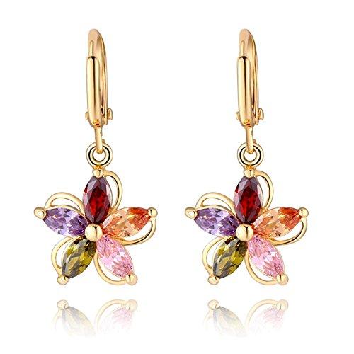 ZUMUii Orecchini da donna, placcati oro, con ciondolo, zirconia, motivo floreale, con cristalli colorati