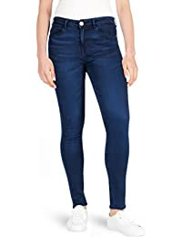96a2c3741a4 F F Ladies Overdye Blue Mid Waisted Skinny Stretch Jeans