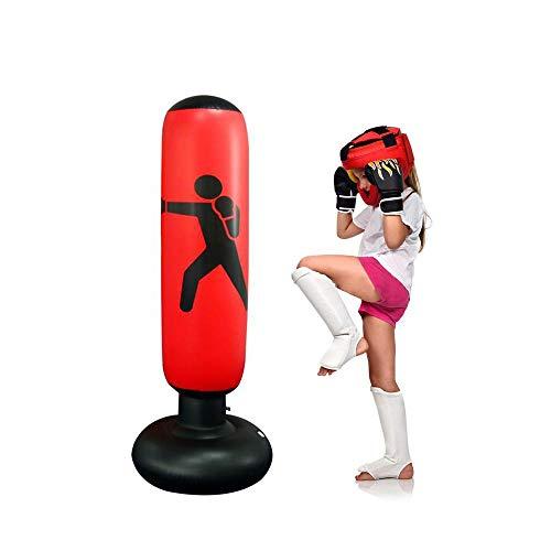Womdee Saco de Boxeo para Mujer, Inflable, Saco de Boxeo y Saco de Boxeo con Base Gruesa, lo Suficientemente Fuerte como para Niños y Adultos, Ejercicio y Alivio del Estrés, 160 Cm, Rojo