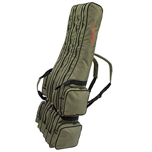 Angel Tasche Futteral Rutentasche Fishing Rucksack - Oliv 4 Innenfächer - 125 cm