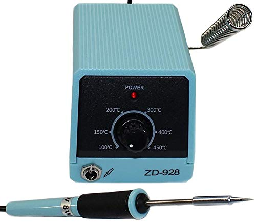 Komerci regelbare Mini Lötstation Lötkolben ZD-928 12V 8W mit Nadelspitze Feinlötkolben Lötnadel, hellblau/schwarz
