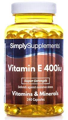 Vitamina E 400ui - 240 cápsulas - Hasta 8 meses de suministro - Tocoferol - SimplySupplements