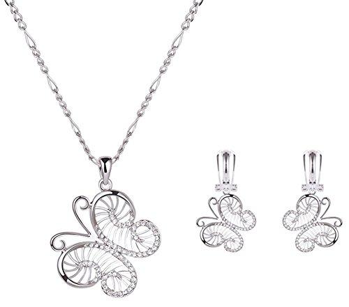 Westeng Halskette Ohrringe Set Platin Schmetterling Eingelegter Diamant Schlüsselbein-Kette Frauen Schmuck für Geburtstag Hochzeit Weihnachten Platin-hochzeit-sets Für Frauen