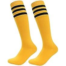 CAOLATOR Calcetines Raya Color Sólido Calcetín Largo Mediano Para Baile Animadoras Fútbol Movimiento Moda Calcetines de Hombre con Mujer-Amarillo