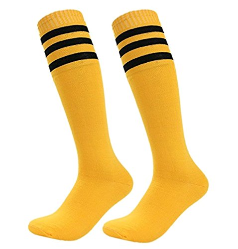 n Streifen Kniestrümpfe Elastisch Overknee Strümpfe Cheerleading Fußball Baseball Sport Baumwolle Lange Socken 1 Paar (Lange Gelbe Socken)