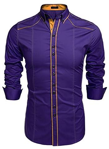 Coofandy Men's Button Down Dress Shirts Casual Slim Fit Shirts (X-Large, Purple)
