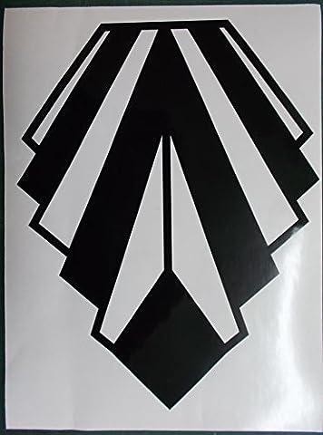 Large Art Deco Style Gloss Black Wall Decoration Vinyl Sticker - Diamond Shape