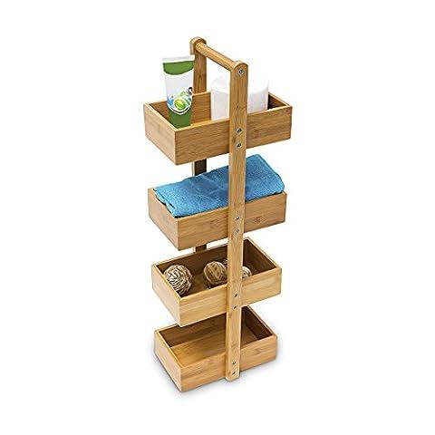 Relaxdays Bambus Badregal H x B x T: 75 x 25 x 18 cm Praktisches Badezimmerregal als Ablageständer mit 4 Körben als Bambus-Butler Korbregal aus natürlichem Holz für Badezimmer und Feuchträume,