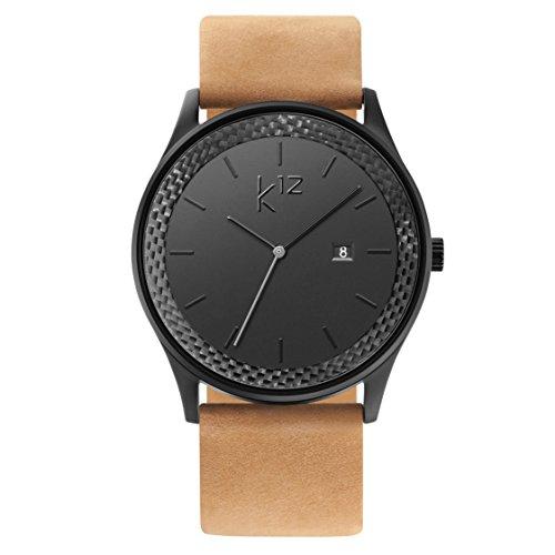 k12 Watch - Tan Leather - Carbon Uhr Herren Schwarz Carbon Black als edles Accessoire für den modernen Mann (Black Mesh) Herren Armbanduhr Tan