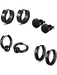 Jaetech House 4 Pairs Stainless Steel Men's Pierced Stud Earrings Fake Plugs Creole Tunnel Set for Men and Women