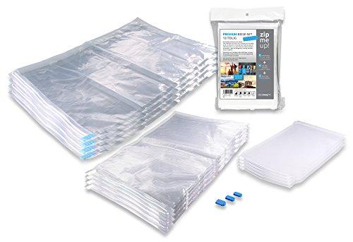 umbeutel Set für Kleidung zum Aufrollen - 8 Kompressionsbeutel zum platzsparenden Verstauen + 4 Minibeutel und 3 Ersatzclips - Vakuum Kleidersack und Aufbewahrungsbeutel ()