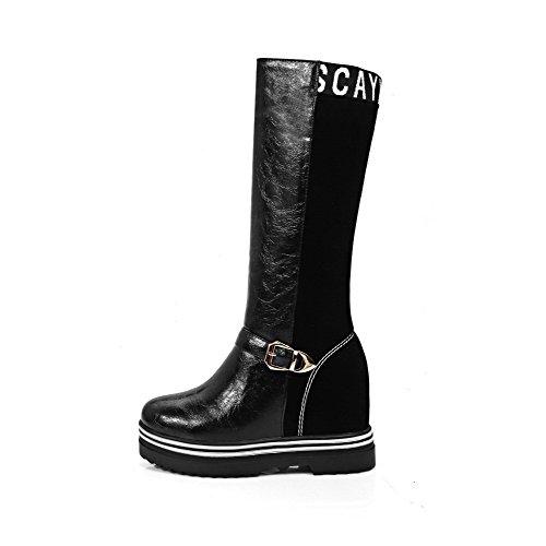 AgooLar Damen Hoher Absatz Ziehen Auf Mitte-Spitze Blend-Materialien Stiefel Schwarz