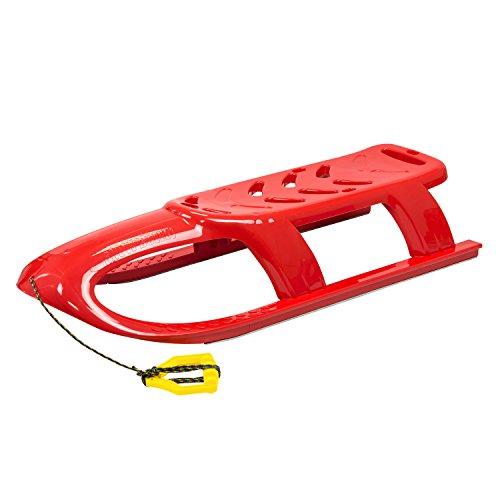 Lang 2Personen Bullet Kid Schlitten mit Metallschienen und Seil, Licht Rot (Ziehen Schlitten Für Kinder)