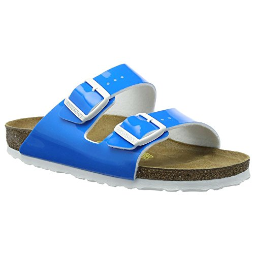 Birkenstock Womens Arizona Patent Neon Blue Birko-Flor Sandals 38 EU Patent Dress Sandal