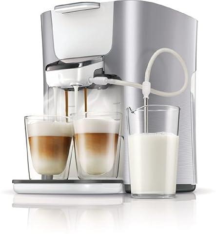 Philips Senseo HD7857/20OP Latte Duo-Kaffeepadmaschine mit Willkommenspaket, perlmuttsilber / weiß