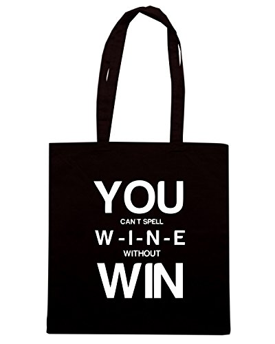 T-Shirtshock - Borsa Shopping BEER0307 You Can t Spell Wine Without Win Nero