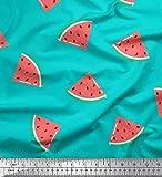Soimoi Grun Baumwolljersey Stoff Wassermelone Obst Stoff