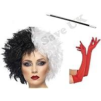 Blue Planet Fancy Dress ® Dalmatian Lady Wig, Long Red Gloves & Cigarette Holder Halloween Fancy Dress Costume Accessory