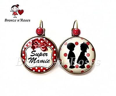 """Boucles d'oreilles """" Super mamie """" bijou fantaisie cadeau fête des grands-mères verre dormeuses"""