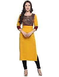 Shopping Queen Women's Rayon Kurta (Yellow_46-inch)