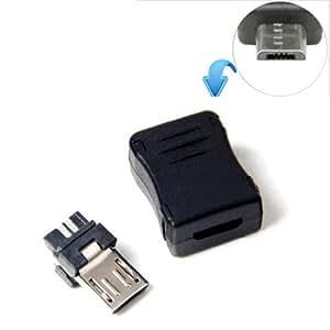 10 Connecteur MICRO USB T Port Mâle non soudé avec Boitier Clip à monter DIY
