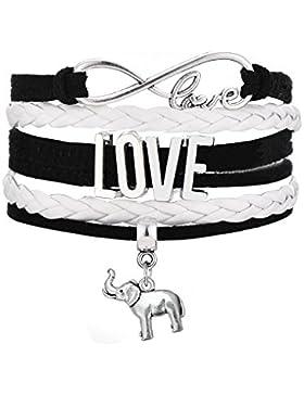 Infinity Love Elefant Charm Anhänger Wrap wistband Armband für Teen Mädchen