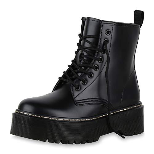 SCARPE VITA Damen Stiefeletten Plateau Boots Leicht Gefütterte Outdoor Stiefel 174274 Schwarz Gelb 40 Outdoor Damen Stiefel