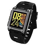 OOLIFENG Wasserdicht IP68 GPS-Smartwatch, Multisport-GPS-Uhr, Mit Eingebauten Pulsmesser, Barometer, Höhenmesser, Kompass Für Android und Ios,Black