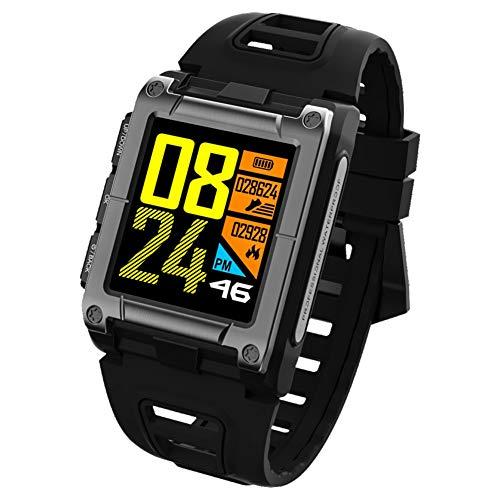 OOLIFENG Orologio Sportivo GPS, Impermeabile IP68 Orologio Intelligente, Sensore Cardio al Polso, Barometro/Altimetro E Bussola, Smartwatch Tracker per Android E iOS,Black