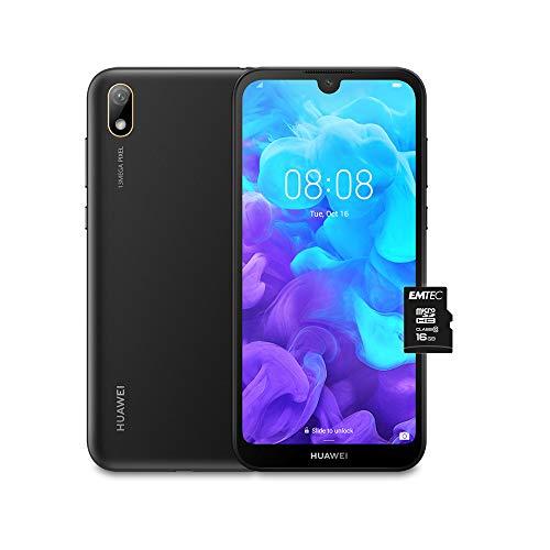 huawei y5 2019 (nero) più microsdhc 16gb class 10, telefono con 16 gb, display 5.71 hd+, processore quad core [versione italiana]