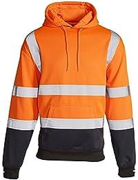 a5a5dc8a9b8 MyShoeStore Hi Vis Viz 2 Two Tone Hoody Sweatshirt High Visibility Workwear  Jumper Reflective Tape Band Work Fleece Safety Sweat Shirt…