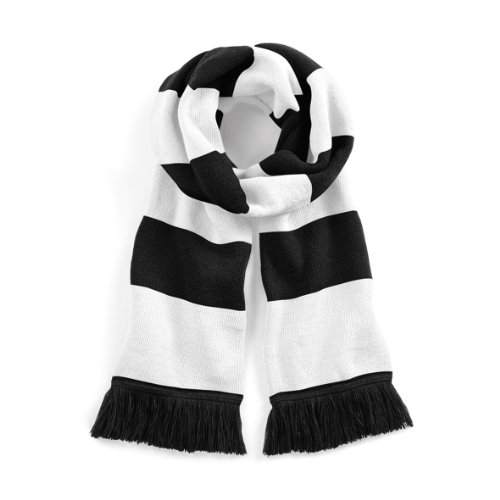 Beechfield Stadium Scarf Echarpe, Multicolore (Black/White 00), Taille Unique Mixte