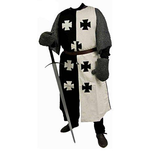 Schwarzweiß Kreuzfahrer Waffenrock, Mittelalterlicher Ritter Waffenrock, Mittelalter Kleidung, Kreuzritter Kostüm, Reenactment, LARP, Mittelalter (Mittelalter Kostüme Reenactment)