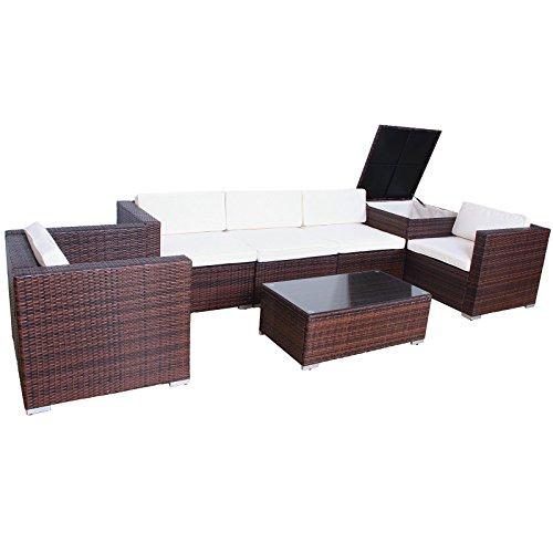 Svita Gartenset XXL (4 Sitze, 1 Tisch, 1 Bank, 1 Kissenbox) aus Rattan – variable Anordnung