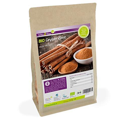 Bio Ceylon Zimt 500g im Zippbeutel - Ökologischer Anbau - Glutenfrei - Zimt gemahlen - Premium Qualität