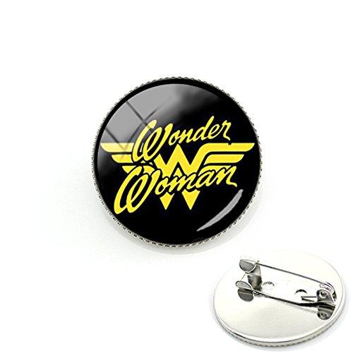 Parche Nation Wonder Woman Cosplay Metal redondo Pin Fancy Dress Badges, Aleación de aluminio, negro, 26mm Diameter