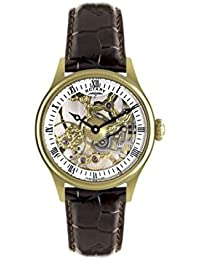 Rotary Men's Mechanical Watch with White Dial Analogue Display and Brown Leather Strap GS02520/03