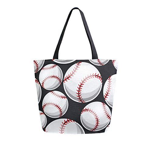 Baseball-Softball Grafik-Canvas-Tasche, große Schultertasche für Damen und Mädchen, Einkaufstaschen, wiederverwendbar, Canvas Handtaschen