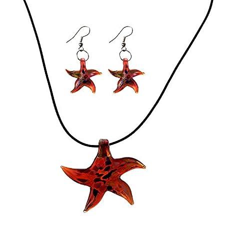 TOOGOO(R) Collier Boucle d'oreille en Murano Etoile de Mer Rouge