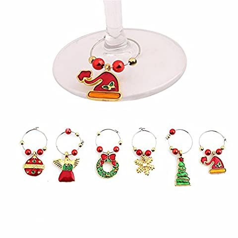 Yalulu 6pcs Handmade Christmas Wine Glass Decoration Charms Party New Year Cup ring Table Decorations Xmas Pendants Metal Ring Decor