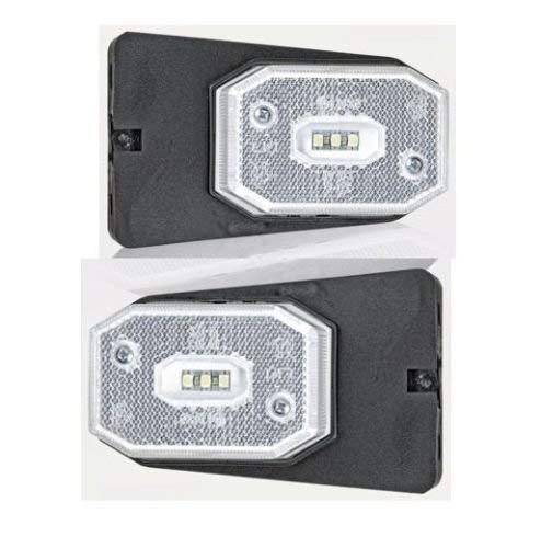 Begrenzungsleuchten Umrissleuchten Seitenmarkierungsleuchten Positionsleuchten mit Halter LED weiß 1 Set=2 Stück Anhänger LKW Wohnwagen Nutzfahrzeuge Trailer
