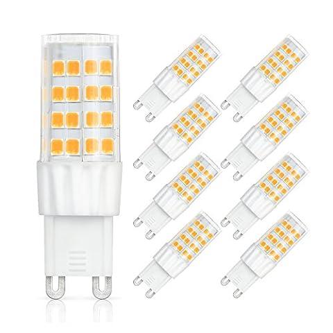 SHINE HAI G9 Ampoule LED 6W Equivalent à Ampoule Halogène/Incandescente 45W, Blanc Chaud 3000K, 450LM, 360° Large Faisceau, IRC>80, Culot G9, Lampe LED Encastrable, Lot de 9