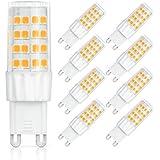 SHINE HAI bombillas LED G9 6W equivalentes a Lámparas halógenas de 45W,Blanco cálido 3000k,450LM,AC 220-240V,51x SMD 2835 pack de 9