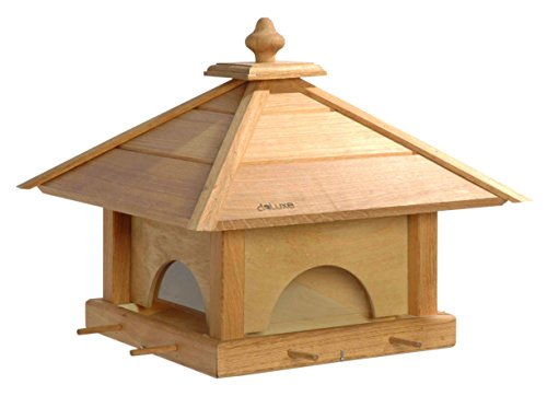 Luxus-Vogelhaus 46700e Großes XXL Vogelhaus aus Holz (Eiche) mit 4 herausziehbaren Futterspender-Schubladen, für Garten, Balkon – XL Vogelhäuschen Vogelfutterhaus - 2
