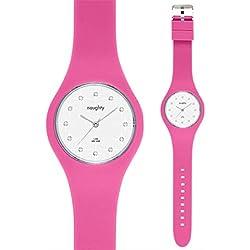 Damen Armbanduhr, Swarovski-Kristalle, Silikon, Modell Naughty 9, Rosa