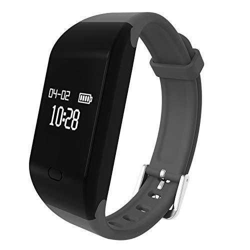 Pulsera Actividad,fitpolo Pulsera Inteligente con Pulsómetro Pulsera Deportiva,Monitor de Ritmo Cardíaco Monitor de Actividad,Impermeable IP67 Reloj Fitness,Podómetro para Hombre Mujer